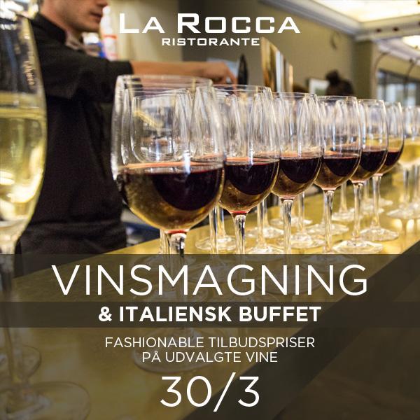VINSMAGNING med italiensk buffet på La Rocca, lørdag d. 30. marts, kl. 12.30