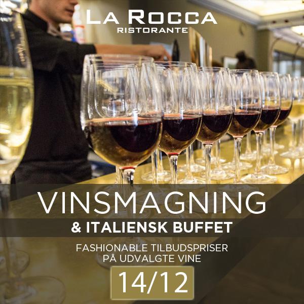 Vinsmagning med italiensk buffet på La Rocca – lørdag den 14. december 2019 kl. 12.30