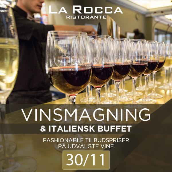 Vinsmagning med italiensk buffet på La Rocca – lørdag den 30. november 2019 kl. 12.30